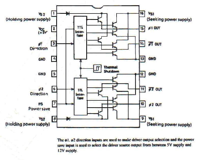 Ниже показан драйвер для двухфазного, двуполярного шагового двигателя, выполненый на микросхеме LB1656...